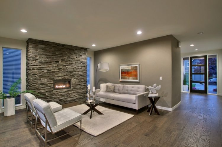 Get The Warmth of Charming Stacked Stone Fireplace Design in Your Living Room 7