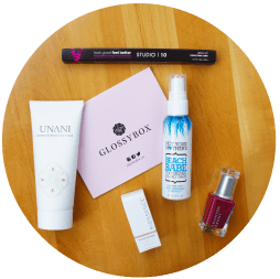 Glossybox April 2016 Not Your Mother's Beach Babe Texturizing Sea Salt Spray Studio | 10 Brow Lift Perfecting Liner BIOSSANCE The Nourisher, Percious Rose Face Oil UNANI Dermo Defence Face Mask Leighton Denny Expert Nails Nail Polish in Pillow Talk
