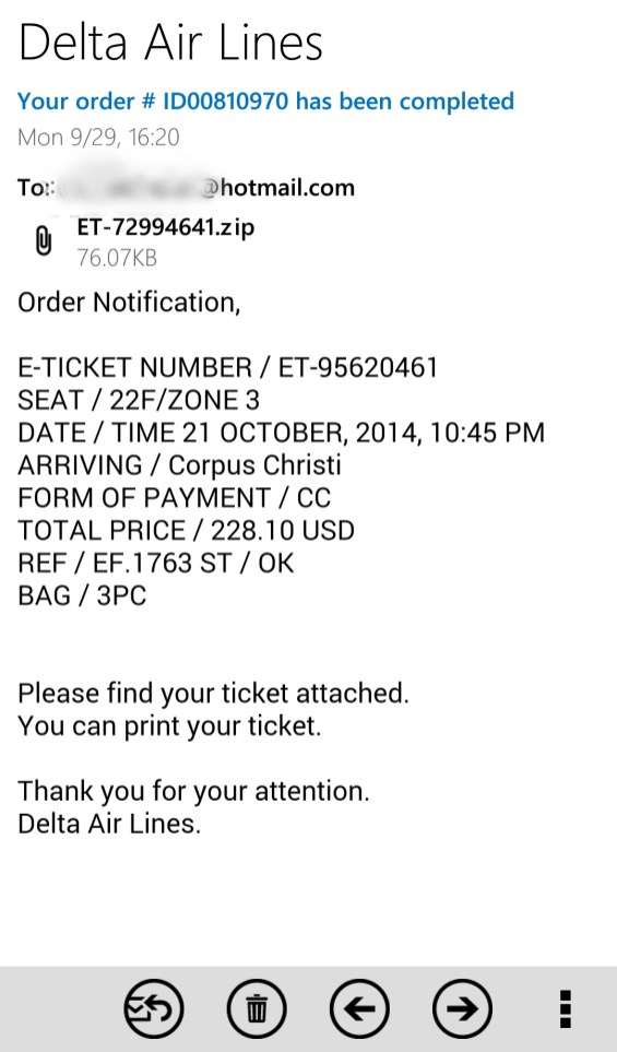 Fake Delta Airlines e-ticket email