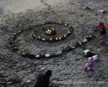 advent spiral on a beach