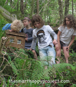 children in rineen fairy woods in midsummer