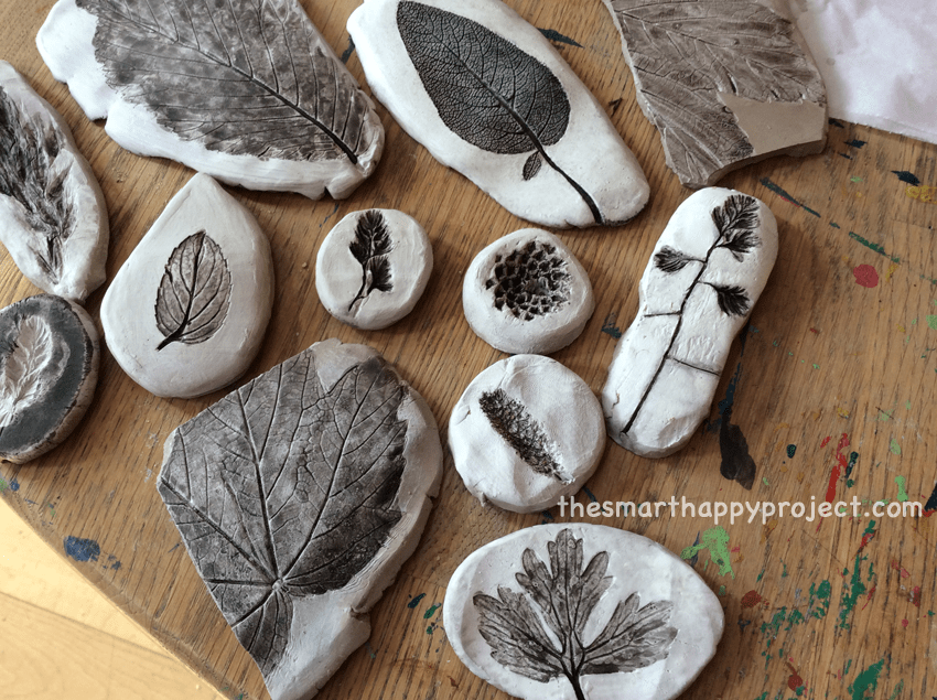 Nature crafts with leaves and seeds