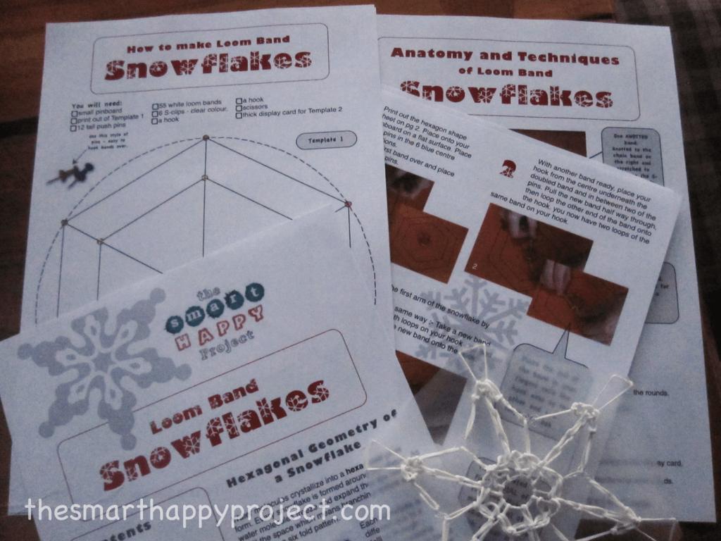hexagonal geometry in loom band snowflakes