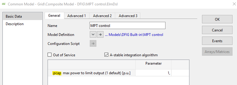 MPT control common model in PowerFactory