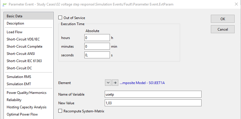 Parameter event 1) to change the voltage setpoint of the synchronous generator