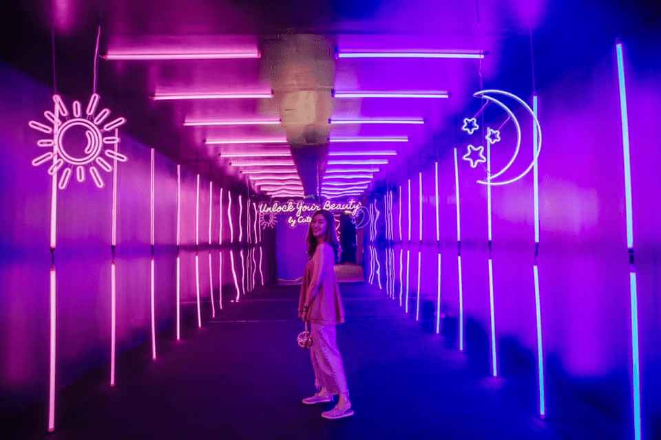 beauty and the box neon room