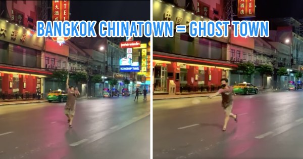 Yaowarat Road So Empty Cuz Of COVID-19, Shop Owner Plays Badminton In The Middle Of The Street