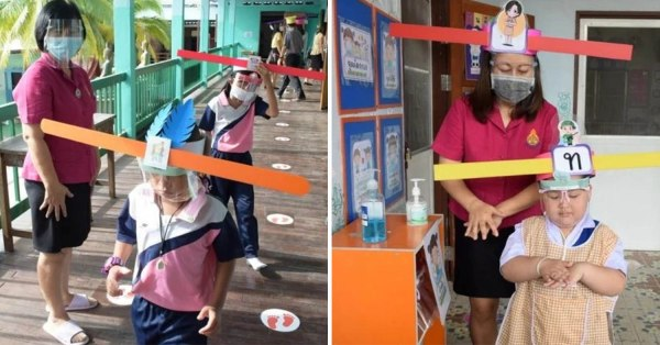 "Thai School Makes ""Justice Bao"" Inspired Headgear To Keep Kiddos Apart During Social Distancing"