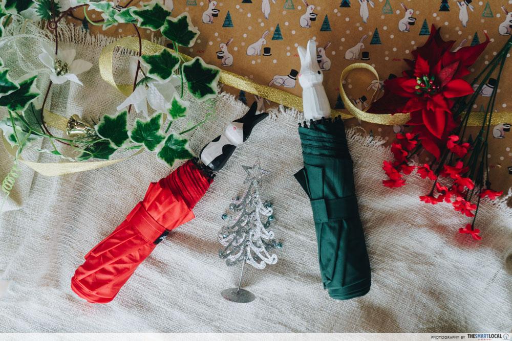JEM wonderland themed christmas 2018 - bunny umbrella wrapping paper