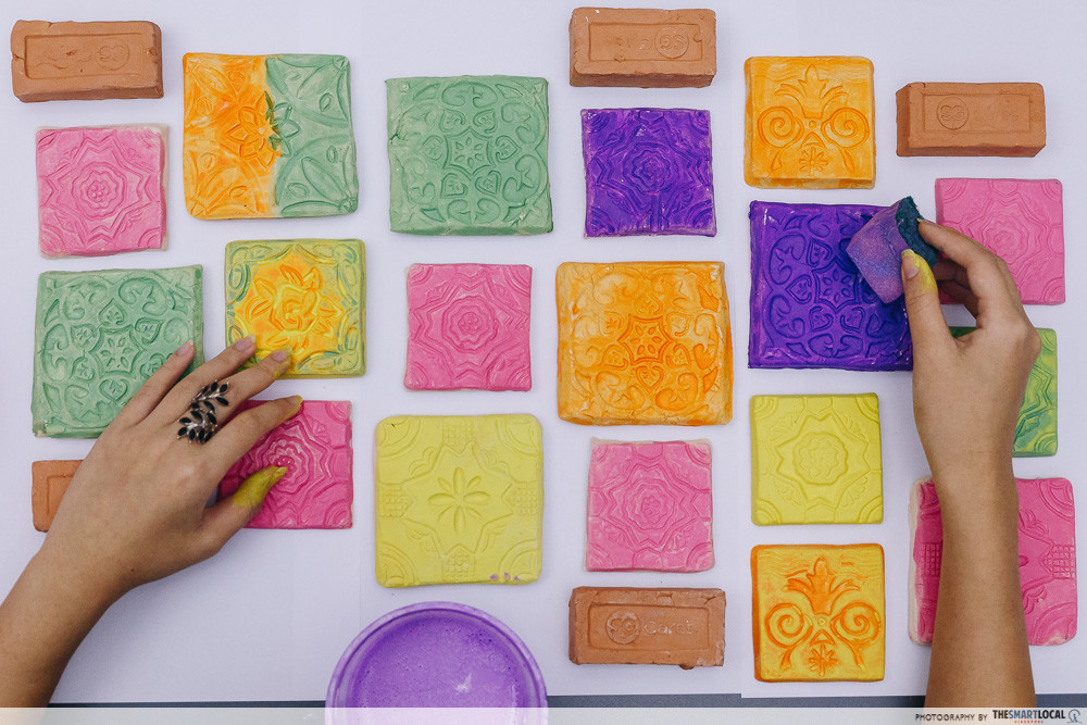 tile painting flatlay