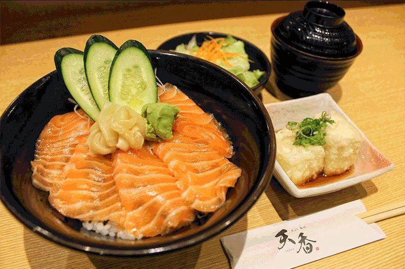 salmon don agedashi tofu salad soup