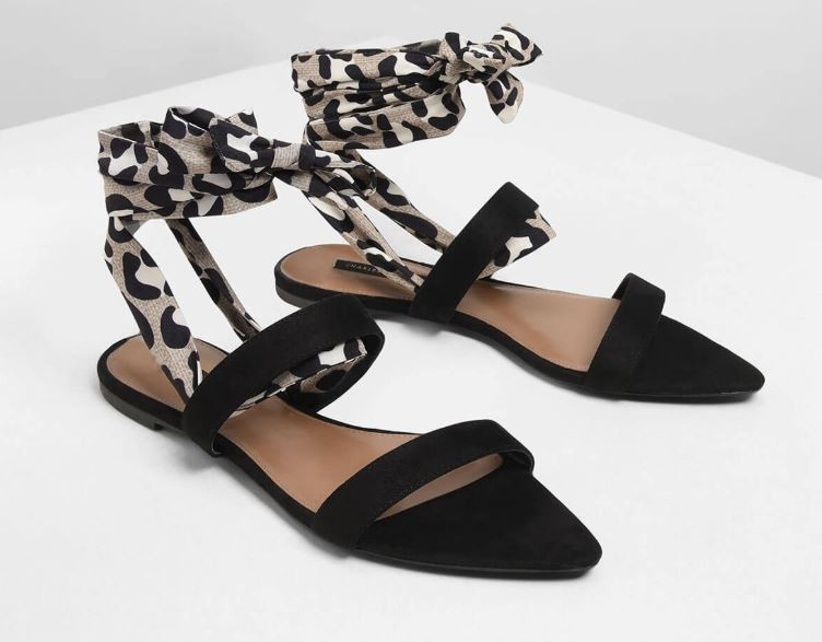animal print ankle wrap sandals