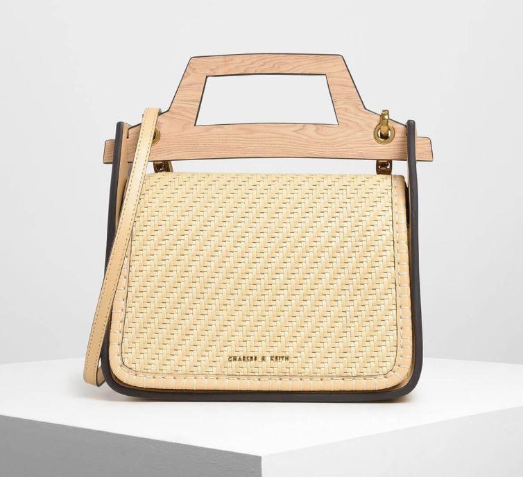 woven wood effect top handle bag