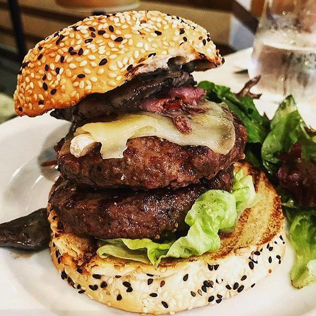 Double patty burger at The Market Grill