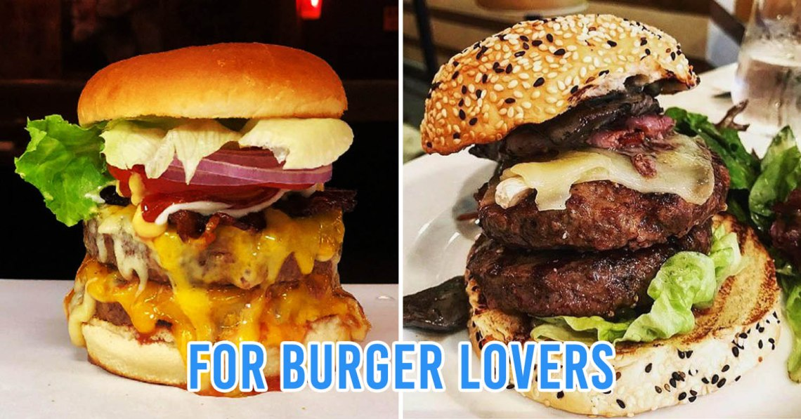 2-pic collage of burgers