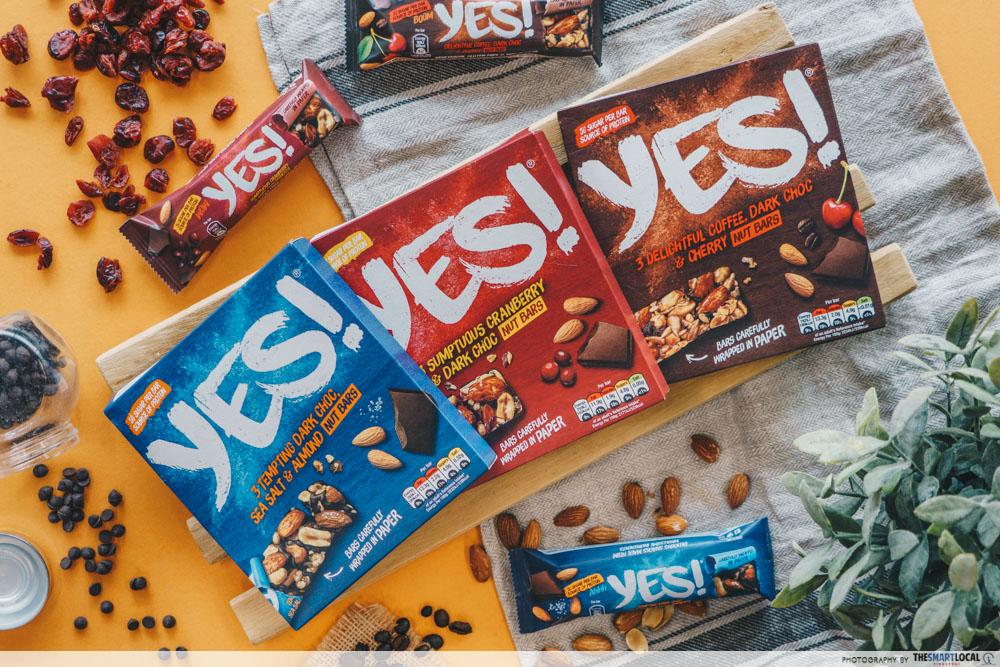 nestle yes bar - flatlay of yes bar boxes