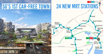 tengah estate - collage of car-free town graphic and jurong region line mrt map