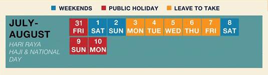 long weekend guide 2020 - hari raya haji and national day