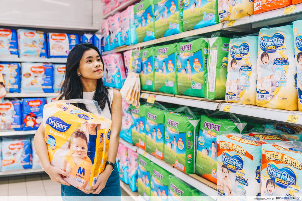 Diapers at supermarket