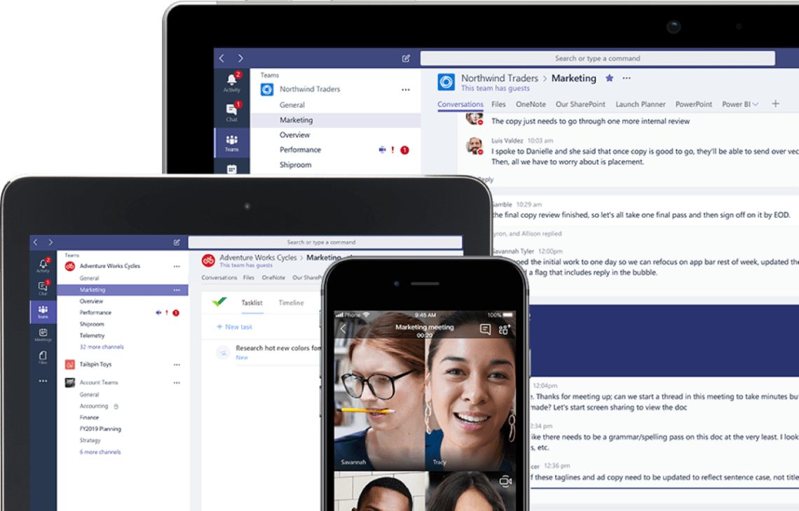 Microsoft Teams is the perfect video calling website for those who work heavily with Microsoft Office apps.