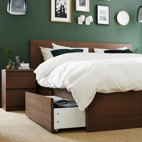 Ikea bed and side table set