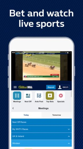 Visit this page and download the William Hill Apps for your current device