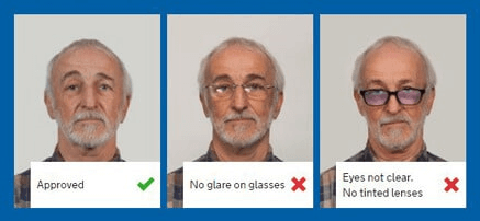 examples of incorrect eye wear when taking passport photos at home with a smartphone camera