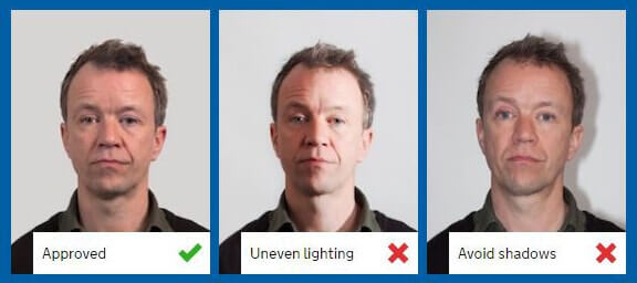 example of appropriate lighting for passport photos