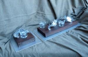 Centros de mesa Cardusk Escultura realizada en chapa de acero y madrea reciclada