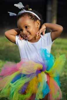 girl in rainbow tutu