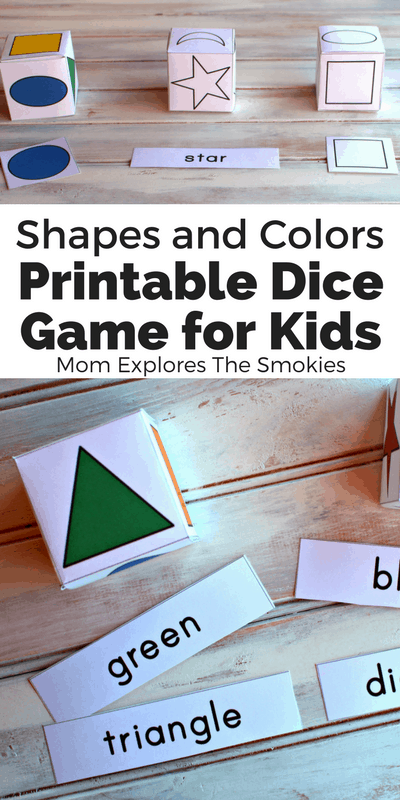Printable Shapes Dice Game for Kids | Mom Explores the Smokies