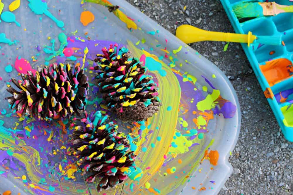 Splatter Painted Pine Cones Nature Art, Nature Craft for Kids, Mom Explores The Smokies