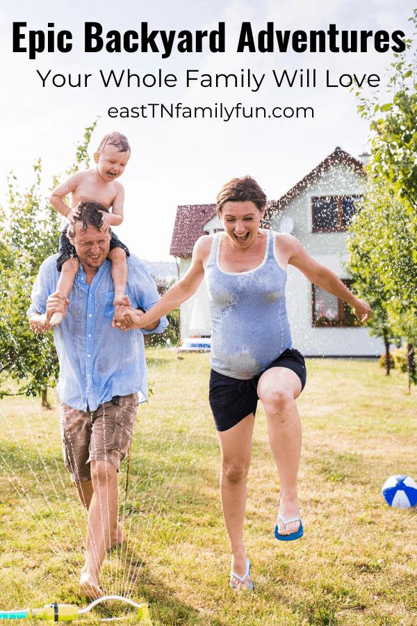 backyard adventures, family running through sprinkler