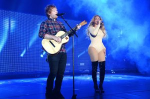Beyonce and Ed Sheeran performed onstage at the Global Citizen Festival in NYC.(Photo courtesy of Billboard.com)