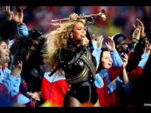Beyonce performing during the halftime show Sunday.