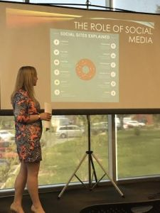 Ashley Duross presented her findings on tweets about the Paris attacks at Made in Millersville. Photo courtesy of Amethyst Stancliff.