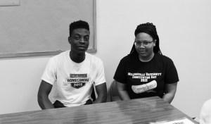 Jason Iyobhebhe and Brittney Brown are student volunteers at Campus Cupboard. Photo courtesy of Julie Florek.