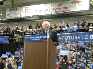Senator Sanders focused on how his views different from Secretary Clinton. (Allie Remis/Snapper)