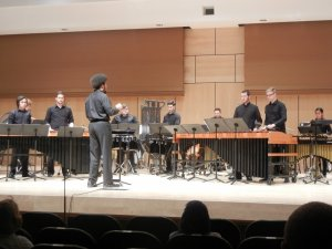 "Millersville Percussion ensemble performs ""Portico."" The student conductor was Matthew Woodson. (Colin VandenBerg/Snapper)"