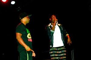 Julian Worrell (left) and AJ Jalloh (right) rap battling on stage. (Andrea Deibert/Snapper)