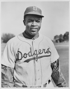 "Photograph, ""Jackie Robinson in his Brooklyn Dodgers uniform"" Record Group 306 Still Pictures Identifier: 306-PS-50-7551 Rediscovery Identifier: 11261"