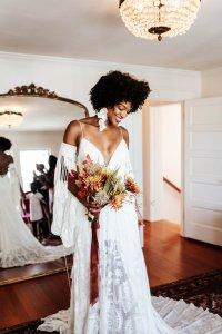 beautiful black boho bride in rue de seine