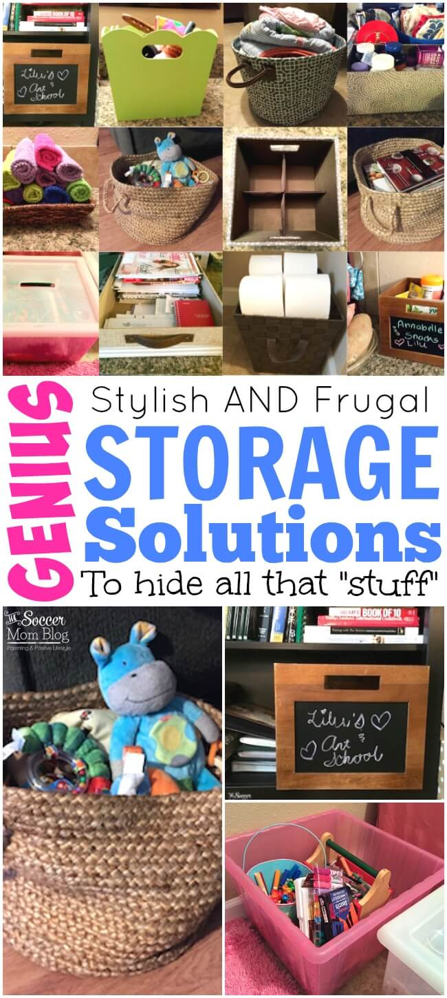 "Sometimes I don't have time to spend hours cleaning & organizing, so these are my tricks to hide all that ""stuff"" in plain sight! Genius storage solutions for home, kitchen, bathroom, kids room, and more!"