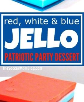 Red White & Blue Jello Ribbon Salad