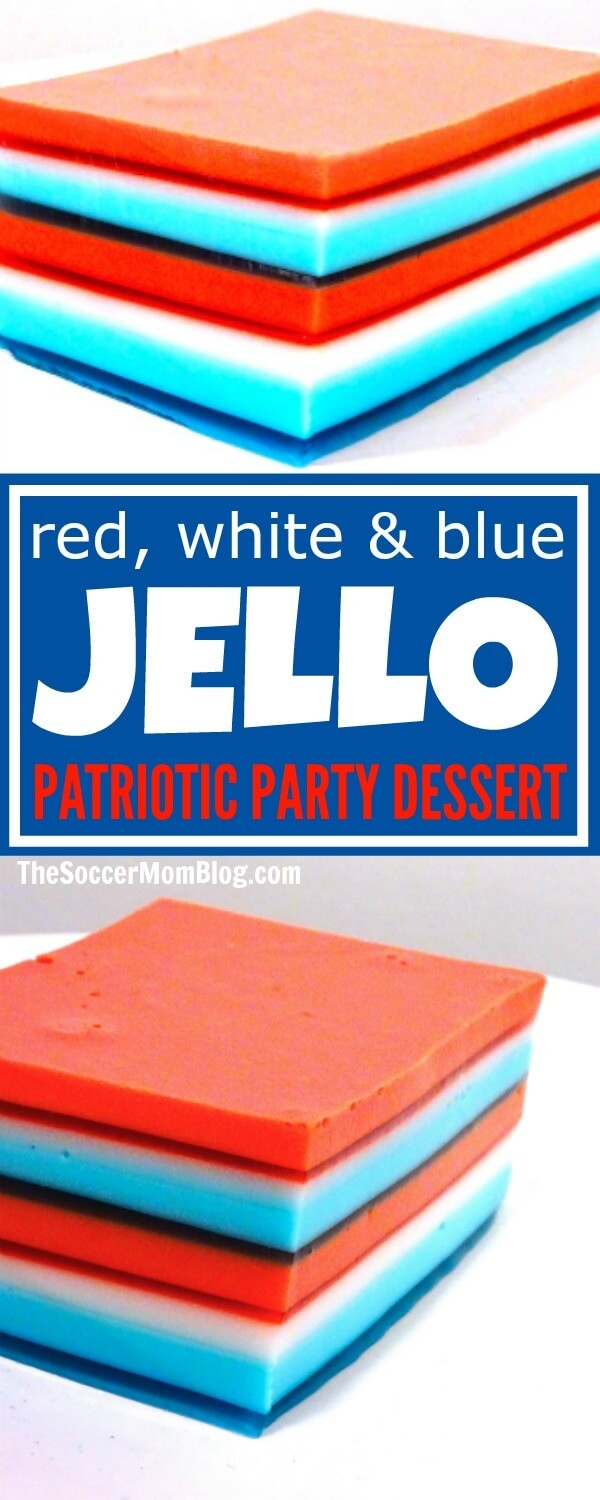 A total show-stopper!! This patriotic Jello Ribbon Salad is a hit at every party we make it for - the perfect Fourth of July & Memorial Day dessert.