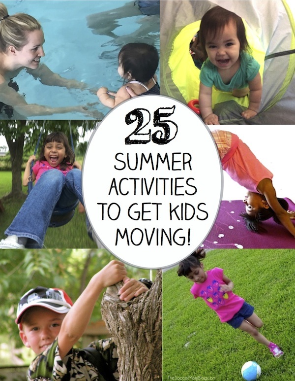 These 25 Summer Kids Activities are sure to get the entire family moving, playing, and learning! Indoor and outdoor games teach kids help kids practice gross motor skills, coordination, and even challenge the mind!