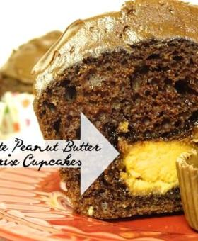 Reese's Chocolate Peanut Butter Surprise Cupcakes