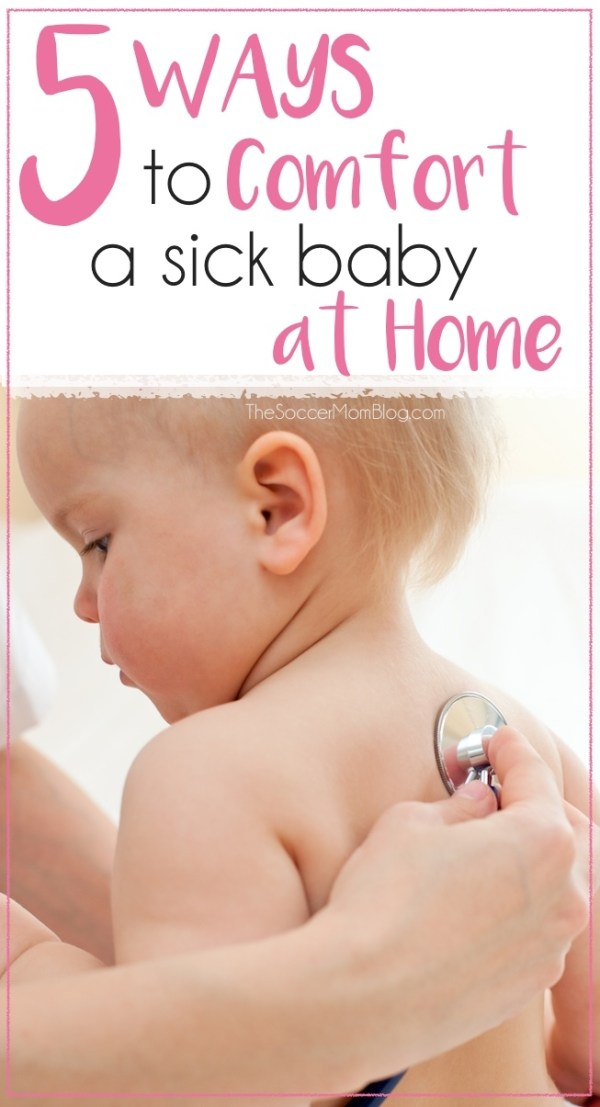 """Sometimes when your baby has a """"bug"""" there's not much you can do except try to keep them comfortable. 5 tips for making a sick baby happier and keeping them entertained at home."""
