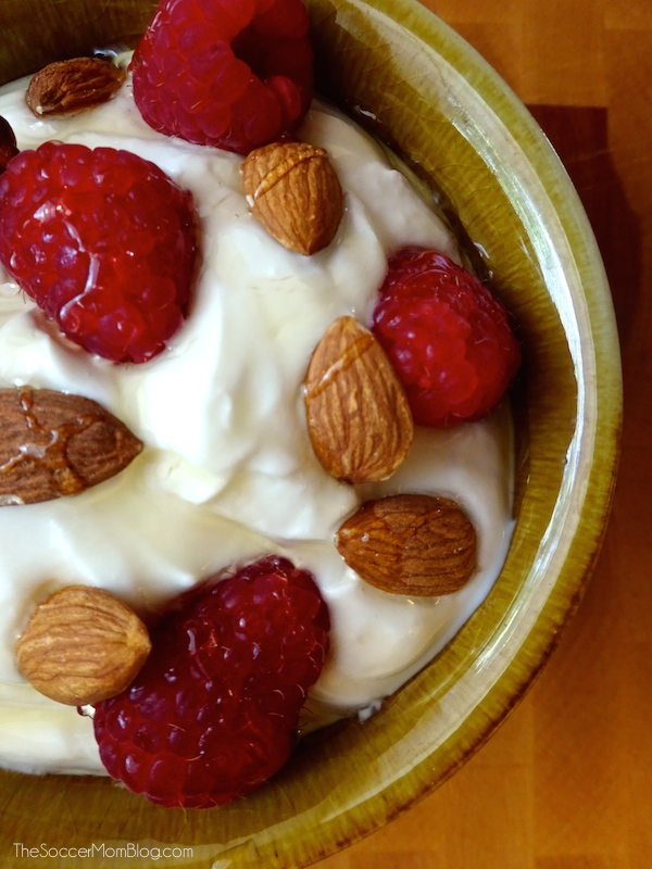 This delicious (and easy) recipe featuring Yoplait® Greek Yogurt is packed with protein -- it's the perfect post-workout or ANYtime snack! #sponsored