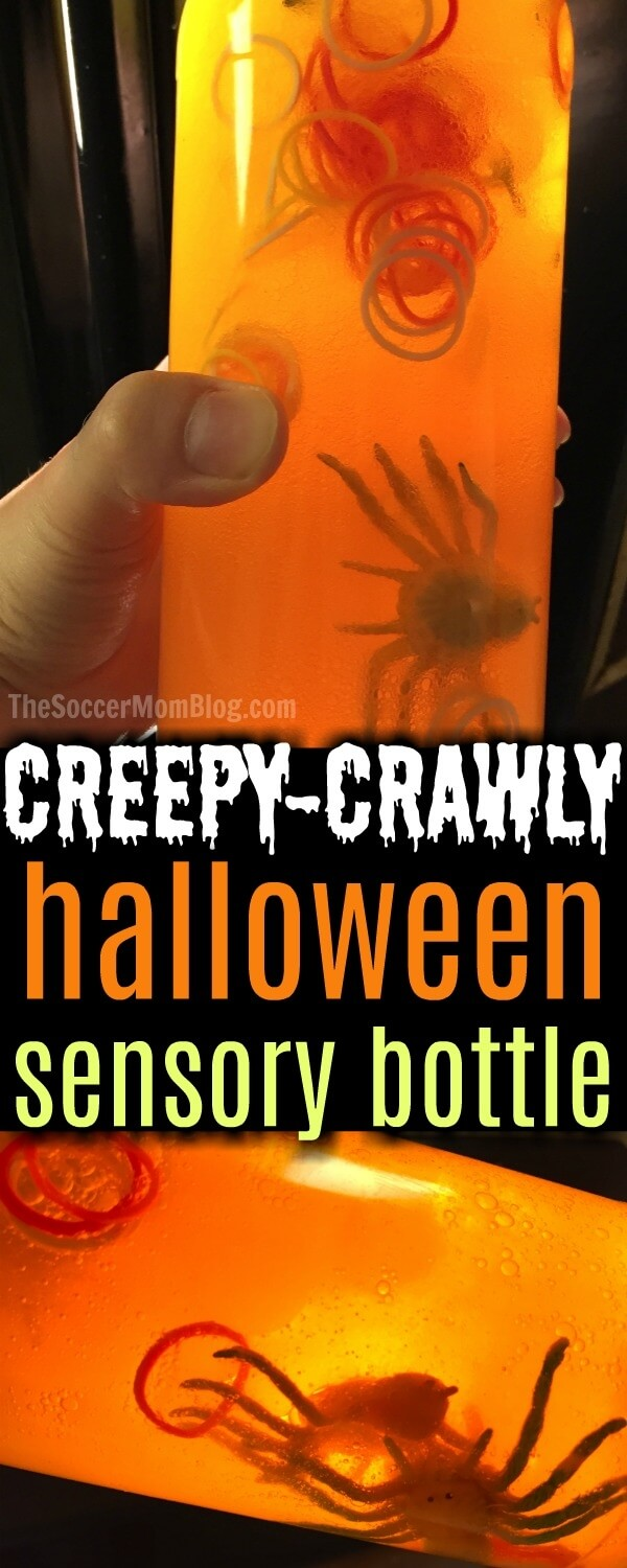 This Halloween Sensory Bottle is an easy kid's craft that is sure to please Halloween fans, creepy-crawler lovers, and toddlers alike!